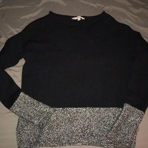 Athleta wool sweater black & white fleck - small